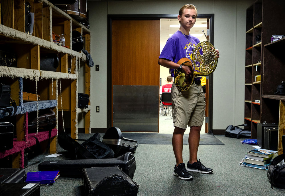 The French horn Dylan Hembrough will be using during his music career at Williamsville High School was purchased in memory of Adam Clack. [Ted Schurter/The State Journal-Register]