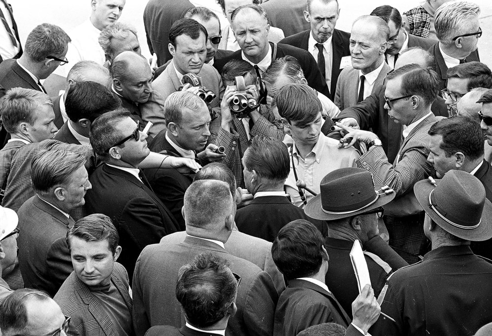 Former Alabama Gov. George Wallace, center, talks with reporters in Springfield Sept. 12, 1968 while campaigning for the presidency. File/The State Journal-Register