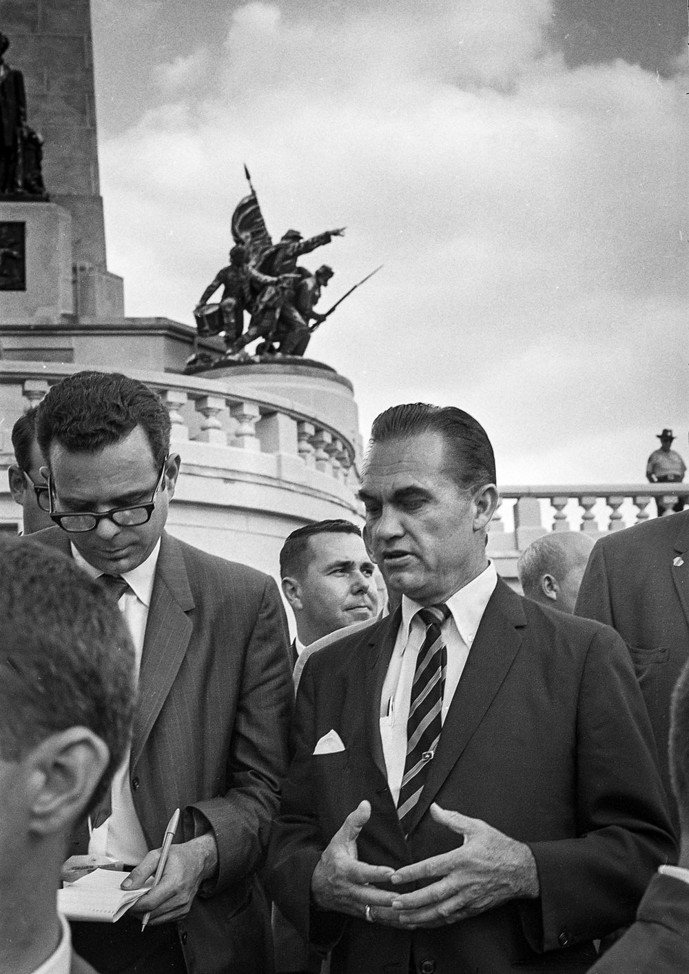 Former Alabama Gov. George Wallace talks to a reporter after placing a wreath outside Lincoln's tomb in Oak Ridge Cemetery Sept. 12, 1968. File/The State Journal-Register
