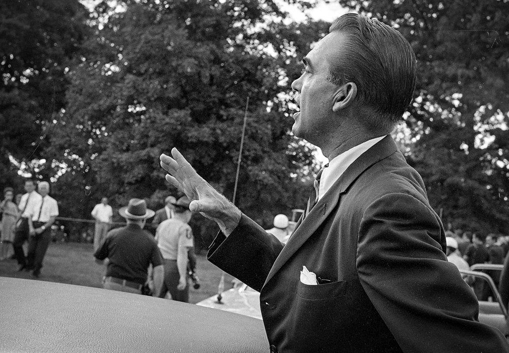 Former Alabama Gov. George Wallace talks to people after placing a wreath outside Lincoln's tomb in Oak Ridge Cemetery Sept. 12, 1968 in Springfield. File/The State Journal-Register