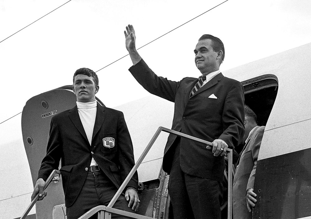 Former Alabama Gov. George Wallace arrives at Capital Airport in Springfield Sept. 12, 1968. File/The State Journal-Register