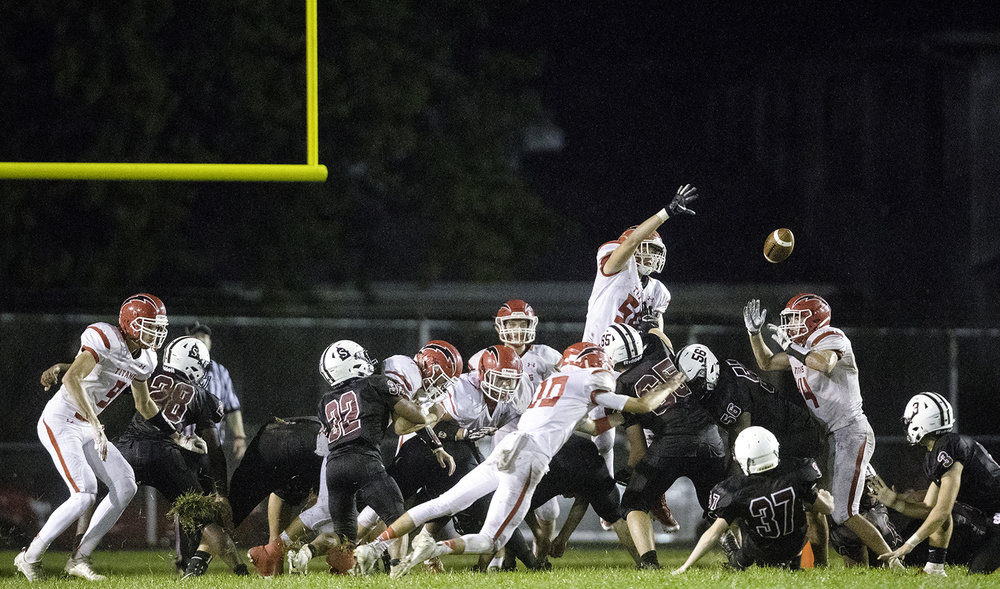An extra point attempt by Springfield against Glenwood fell short at Memorial Stadium Friday, Sept. 7, 2018. [Ted Schurter/The State Journal-Register]