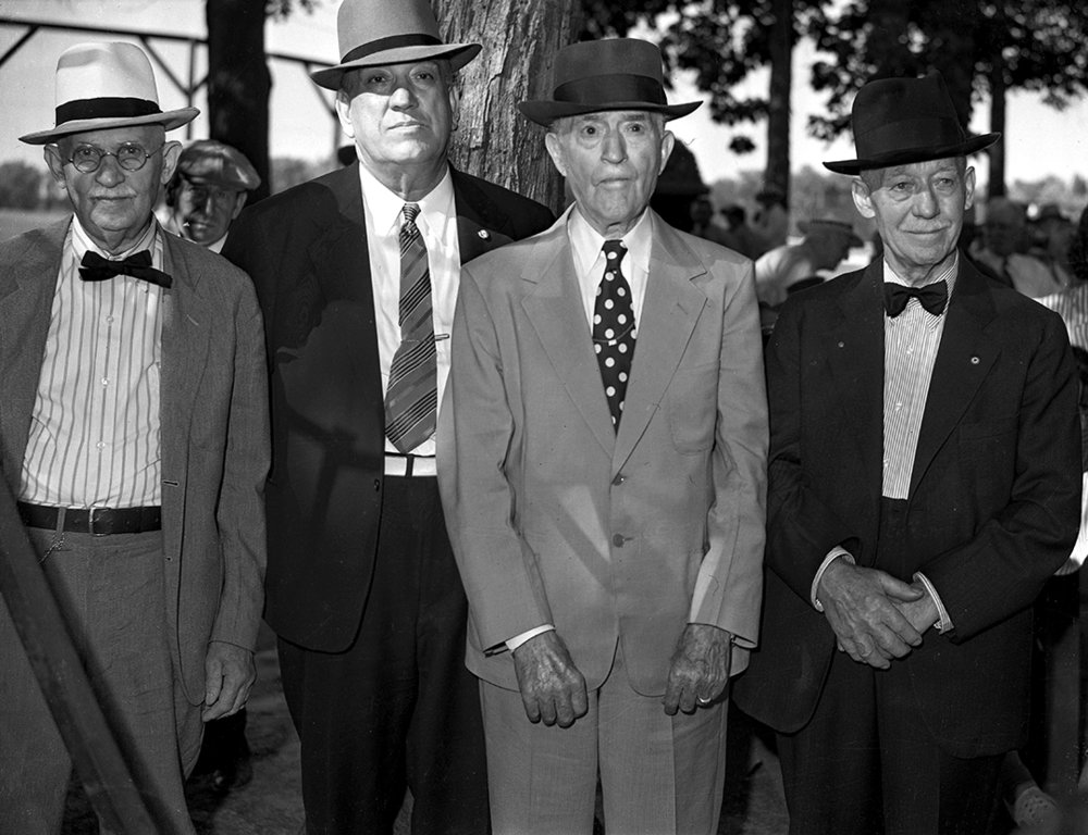 Portrait, four men with hats, outdoors. September 14, 1941. File/The State Journal-Register