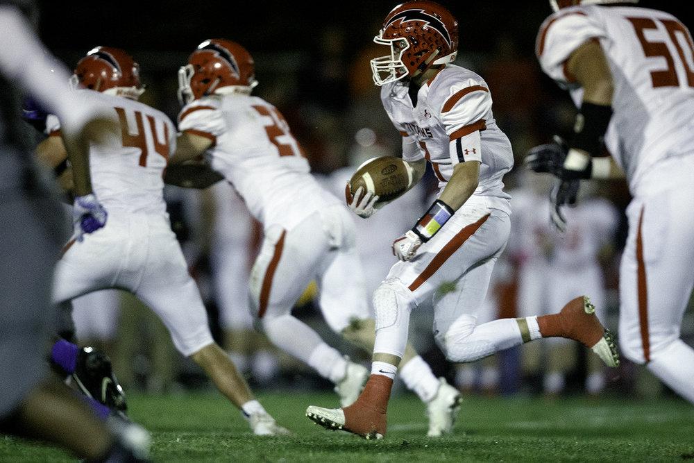 Glenwood's Drew Dunbar returns a kickoff at Decatur MacArthur High School Friday, Sept. 28, 2018. [Ted Schurter/The State Journal-Register]