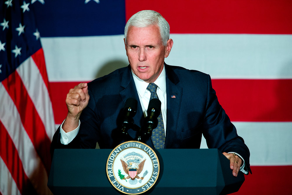 Vice President Mike Pence campaigns for Rodney Davis, R-Taylorville, at Panther Creek Country Club in Springfield, Ill., Friday, Oct. 12, 2018. Davis is locked in a nationally watched race for the 13th Congressional District against Democrat Betsy Dirksen Londrigan of Springfield.  [Ted Schurter/The State Journal-Register]