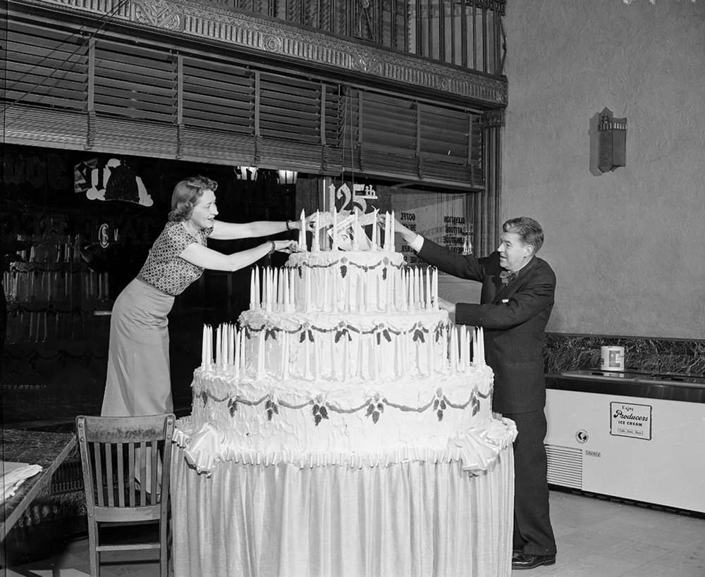 Illinois State Journal 125th anniversary cake October 6, 1956. File/The State Journal-Registernewspaper; publishing; communications; community; archive; spihistory; picpastPublished as Picturing the Past Oct. 14, 2018The Illinois State Journal and Register was celebrating 125 years in business, so a big, big cake was in order. Gertrude Corea, society editor, and F.S. Haynes, publisher of the two newspapers, put the final touches on the cake Oct. 6, 1957 in the front window of the Journal building at 313 S. Sixth St. The observance included a week-long open house with tours of the plant given six time each day. And on each of the Sundays throughout the month, the paper published a special edition on the history of the Springfield area. The Journal traces its roots to the Sangamon Journal, which began publication in Springfield in 1831, making The State Journal-Register the oldest newspaper in the state. [File/The State Journal-Register]