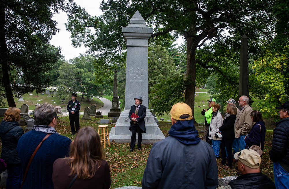 "Dennis Rendleman portrays John Todd Stuart, the cousin of Mary Todd Lincoln and Abraham Lincoln's law partner who came to Springfield in 1828, in front of the Stuart family marker during the Sangamon County Historical Society's ""Echos of Yesteryear: A Walk through Oak Ridge Cemetery"" at the cemetery, Sunday, Oct. 14, 2018, in Springfield, Ill. This year's walk celebrated the Illinois Bicentennial with actors and actresses dressed in period costumes portraying individuals who had arrived in Springfield near the time of Illinois received statehood.[Justin L. Fowler/The State Journal-Register]"