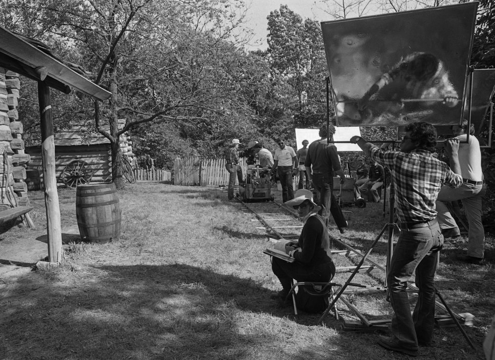 "Filming for television mini series ""The Chisholms"" at New Salem State Historic Site, October 2, 1978. File/Bill Hagen/The State Journal-Register"