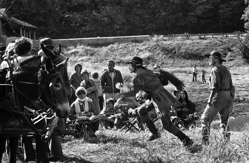 "Filming a scene for the television mini series ""The Chisholms"" at New Salem State Historic Site, October 2, 1978. Lead actor Robert Preston is at right. File/Bill Hagen/The State Journal-Register"