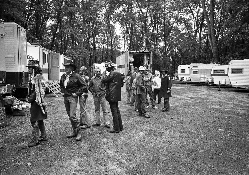 "The line for the catering truck during a break in filming for the television mini series ""The Chisholms"" at New Salem State Historic Site, October 2, 1978. File/Bill Hagen/The State Journal-Register"