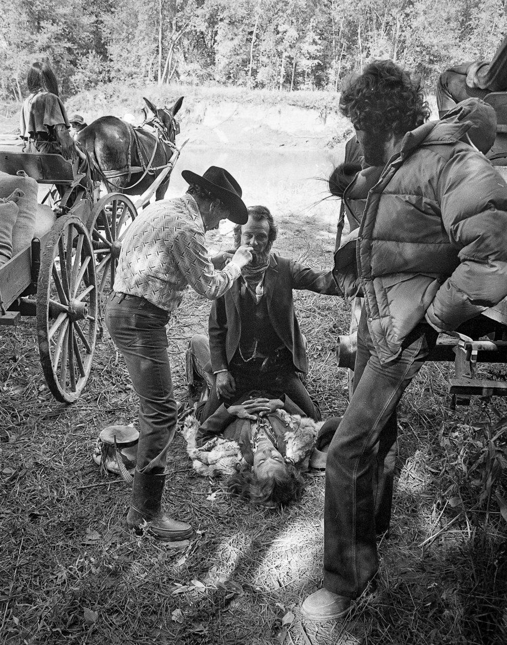 "A makeup adjustment for actor Jerry Hardin during filming for the television mini series ""The Chisholms"" at New Salem State Historic Site, October 2, 1978. File/Bill Hagen/The State Journal-Register"