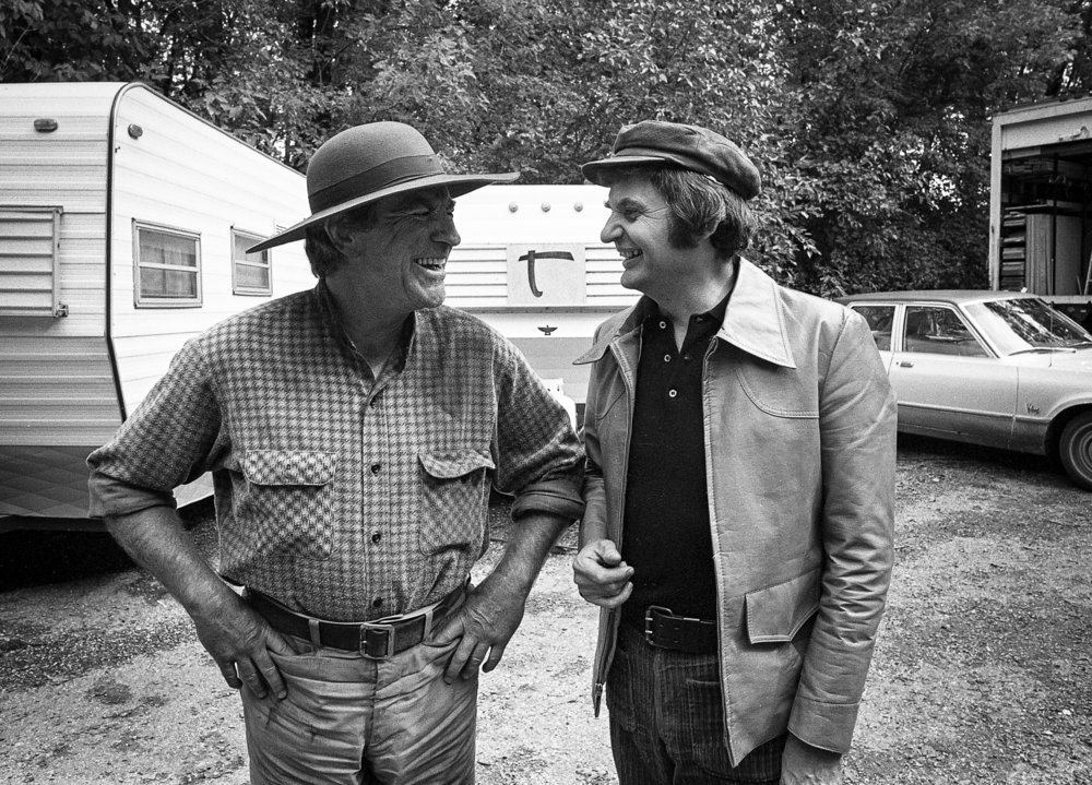 "Robert Preston, left, who played the lead character Hadley Chisholm, and local actor Gene Rubley on the set of the television mini series ""The Chisholms,"" filmed at New Salem State Historic Site, October 2, 1978. File/Bill Hagen/The State Journal-Register"