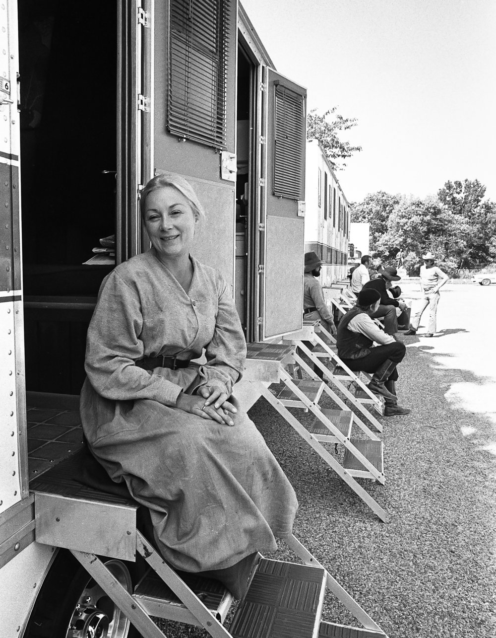 "Lead actress Rosemary Harris during a break in filming for the television mini series ""The Chisholms"" at New Salem State Historic Site, October 2, 1978. File/Bill Hagen/The State Journal-Register"