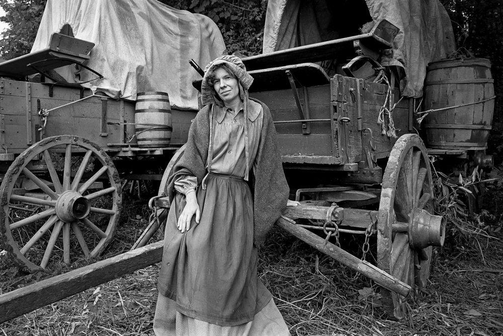 """""The don't do makeup, they do make down. They want you to look weathered and worn down,"" said Ada Lynn Shrewsbury of Springfield, who appeared as an extra in the television mini series ""The Chisholms,"" filmed at New Salem State Historic Site, October 2, 1978. File/Bill Hagen/The State Journal-Register"