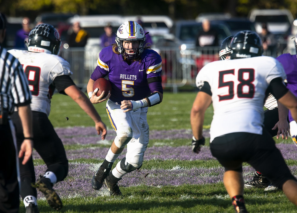 Williamsville quarterback Damon Coady, making his first start since suffering a collarbone injury in Week 7, led the Bullets to a 50-20 win over QuQuoin in the Class 3A playoff game Saturday, Oct. 27, 2018 at Paul Jenkins Field in Williamsville, Ill. [Rich Saal/The State Journal-Register]