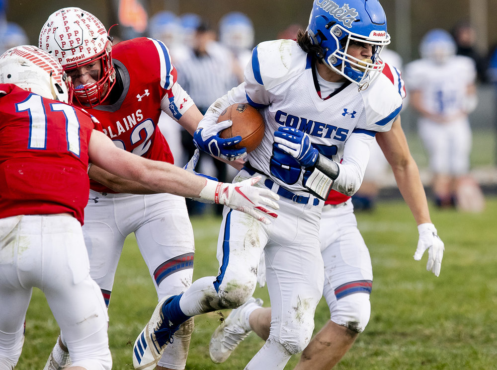 Greenville's Drew Frey had five catches for 75 yards and scored two touchdowns for the Comets in their win over Pleasant Plains in the Class 2A playoff game Saturday, Nov. 3, 2018 at Pleasant Plains High School in Pleasant Plains, Ill. [Rich Saal/The State Journal-Register]