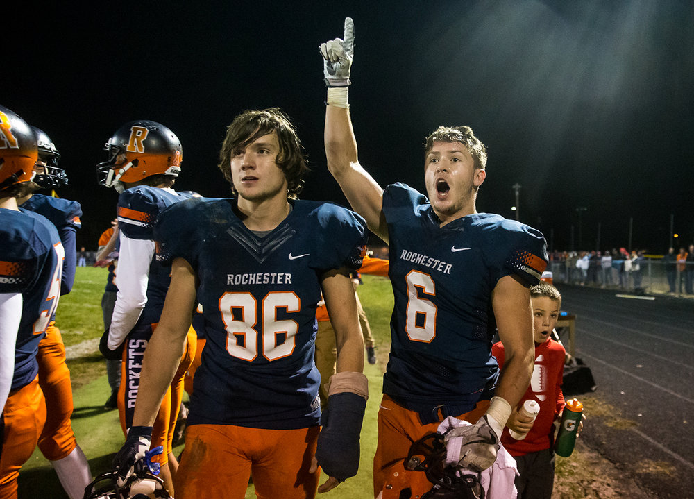 Rochester's Cade Eddington (6) and Rochester's Ethan Vose (86) react along the sidelines as the Rockets force a turnover and get the ball back against Pontiac in the second half in the second round of the Class 4A playoffs at Rochester High School, Saturday, Nov. 3, 2018, in Rochester, Ill. [Justin L. Fowler/The State Journal-Register]