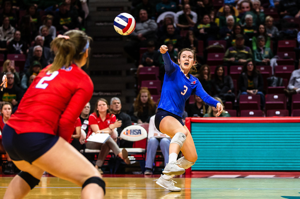 Pleasant Plains' MacKenzie Houser (3) misses a dig attempt on a kill from Champaign St. Thomas More during the Class 2A IHSA Volleyball State Final Tournament semifinals at Redbird Arena, Friday, Nov. 9, 2018, in Normal, Ill. [Justin L. Fowler/The State Journal-Register]