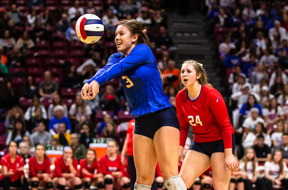 Pleasant Plains' MacKenzie Houser (3) digs out an attack from Champaign St. Thomas More during the Class 2A IHSA Volleyball State Final Tournament semifinals at Redbird Arena, Friday, Nov. 9, 2018, in Normal, Ill. [Justin L. Fowler/The State Journal-Register]