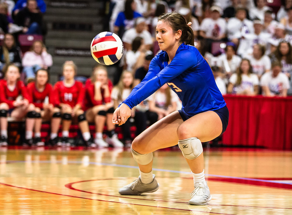 Pleasant Plains' MacKenzie Houser (3) receives a serve from Champaign St. Thomas More during the Class 2A IHSA Volleyball State Final Tournament semifinals at Redbird Arena, Friday, Nov. 9, 2018, in Normal, Ill. [Justin L. Fowler/The State Journal-Register]