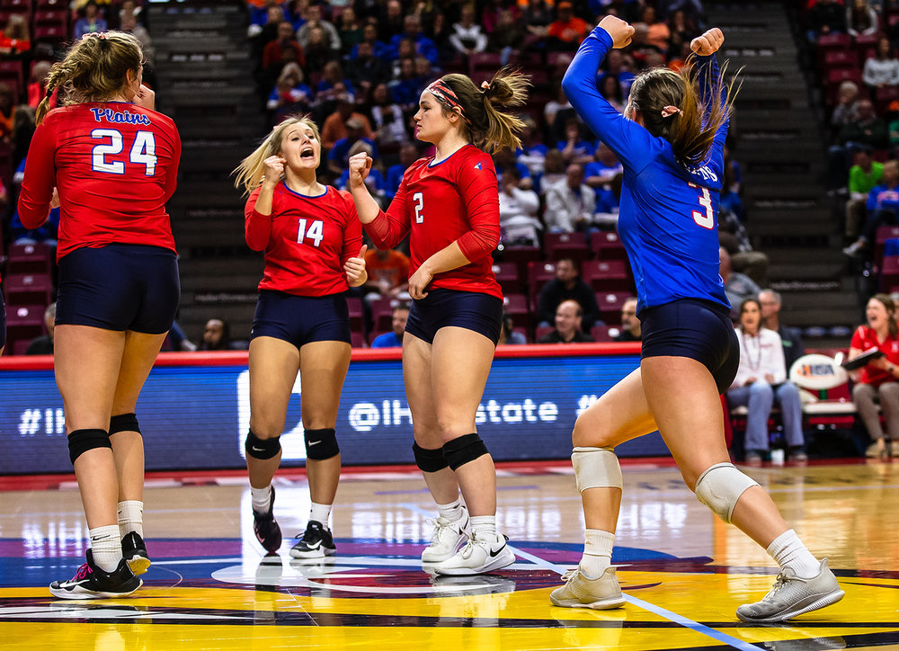 Pleasant Plains' Jade Garrett (2) celebrates a kill with her teammates as the Cardinals take on Champaign St. Thomas More during the Class 2A IHSA Volleyball State Final Tournament semifinals at Redbird Arena, Friday, Nov. 9, 2018, in Normal, Ill. [Justin L. Fowler/The State Journal-Register]