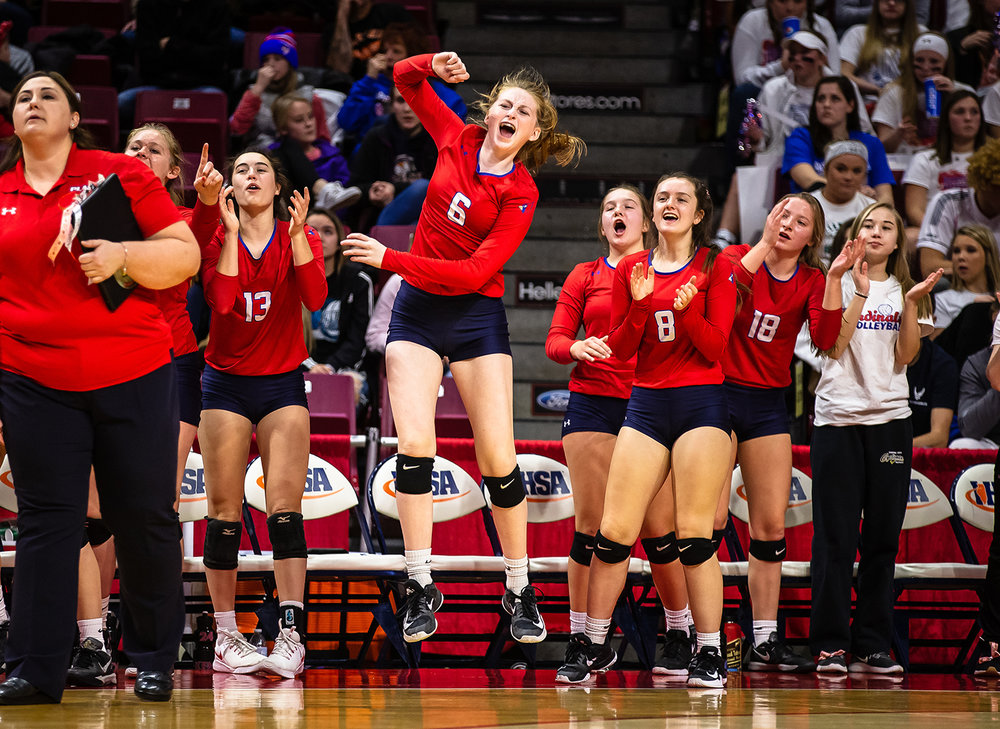 Pleasant Plains' Maya Phillips (6) is fired up along the sidelines as she joins her teammates cheering on the Cardinals as they take on Champaign St. Thomas More during the Class 2A IHSA Volleyball State Final Tournament semifinals at Redbird Arena, Friday, Nov. 9, 2018, in Normal, Ill. [Justin L. Fowler/The State Journal-Register]