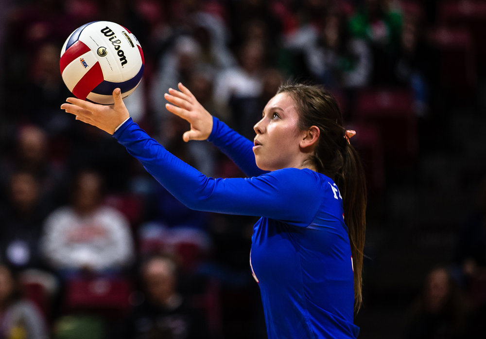 Pleasant Plains' MacKenzie Houser (3) sets up a serve against Champaign St. Thomas More during the Class 2A IHSA Volleyball State Final Tournament semifinals at Redbird Arena, Friday, Nov. 9, 2018, in Normal, Ill. [Justin L. Fowler/The State Journal-Register]