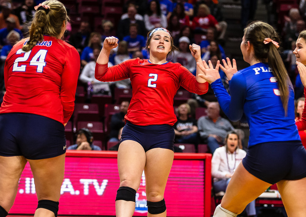 Pleasant Plains' Jade Garrett (2) reacts as the Cardinals set up a match point against Champaign St. Thomas More during the Class 2A IHSA Volleyball State Final Tournament semifinals at Redbird Arena, Friday, Nov. 9, 2018, in Normal, Ill. [Justin L. Fowler/The State Journal-Register]