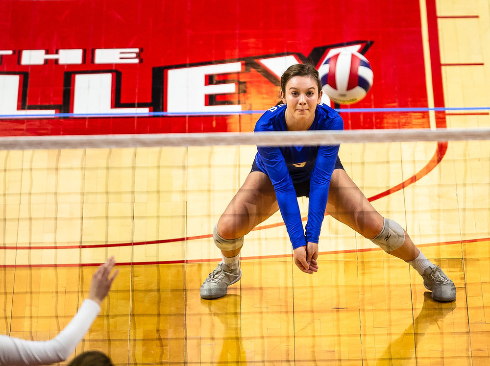 Pleasant Plains' MacKenzie Houser (3) eyes a dig against Champaign St. Thomas More during the Class 2A IHSA Volleyball State Final Tournament semifinals at Redbird Arena, Friday, Nov. 9, 2018, in Normal, Ill. [Justin L. Fowler/The State Journal-Register]