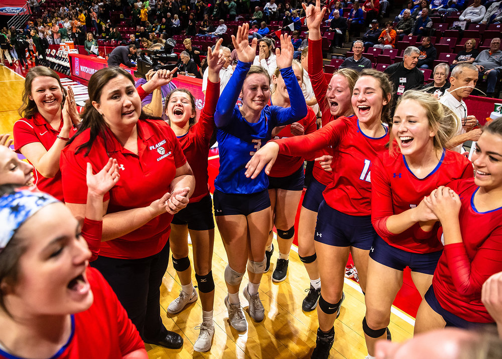 Pleasant Plains' MacKenzie Houser (3) is brought to tears as the Cardinals celebrate their victory over Champaign St. Thomas More during the Class 2A IHSA Volleyball State Final Tournament semifinals at Redbird Arena, Friday, Nov. 9, 2018, in Normal, Ill. [Justin L. Fowler/The State Journal-Register]