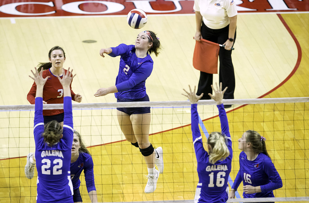 Pleasant Plains' Jade Garrett  spikes the ball against Galena during the IHSA Class 2A Volleyball championship at Redbird Arena in Normal Saturday, Nov. 10, 2018. [Ted Schurter/The State Journal-Register]