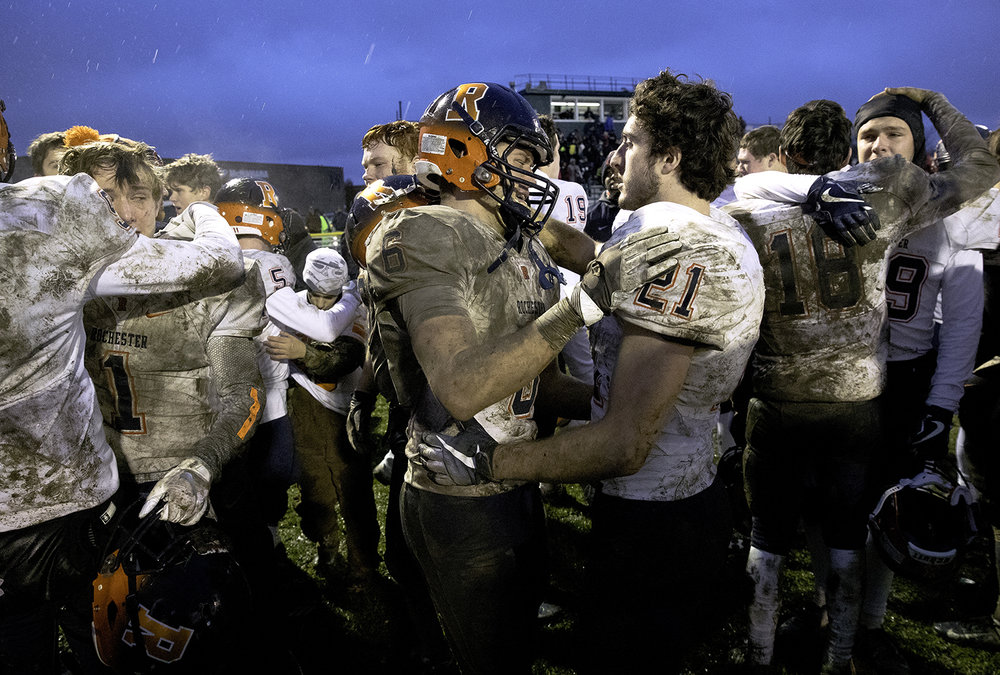 Rochester's Cade Eddington, left, and David Yoggerst console each other after the Rockets lost to Bishop McNamara during the Class 4A semifinal at Kankakee Bishop McNamara Saturday, Nov. 17, 2018. [Ted Schurter/The State Journal-Register]