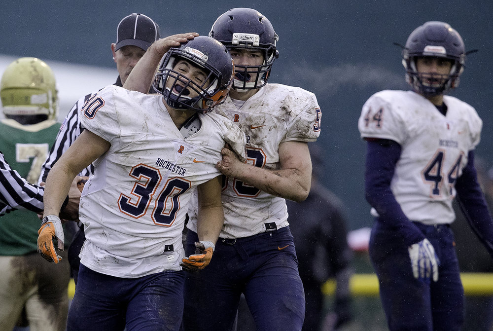 Rochester's Clay Bruno congratulates Zach Gleeson after he scored in the second half against Bishop McNamara during the Class 4A semifinal at Kankakee Bishop McNamara Saturday, Nov. 17, 2018. [Ted Schurter/The State Journal-Register]