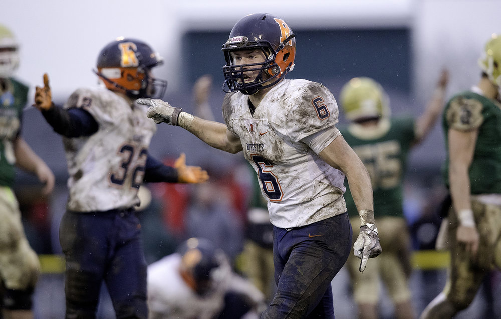 Rochester's Cade Eddington expresses his disappointment after Bishop McNamara retained possession after a fumble during the Class 4A semifinal at Kankakee Bishop McNamara Saturday, Nov. 17, 2018. [Ted Schurter/The State Journal-Register]