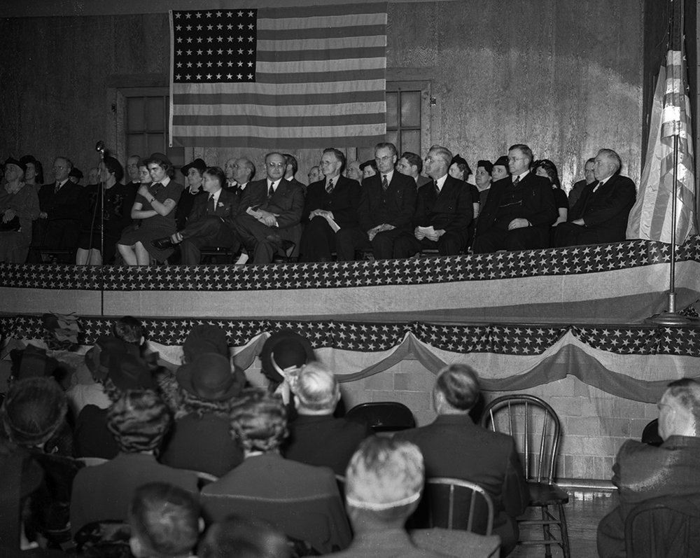 Sen. Earle B. Searcy, seated center with glasses, announced his candidacy for governor at rally at Palmyra High School in Palmyra, Ill., November 29, 1939. File/The State Journal-Register