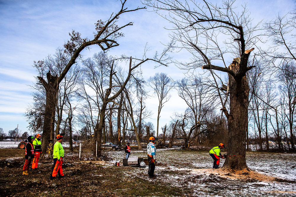 """Kevin Krage, of Elburn, Ill, with St. John Lutheran Church in Wheaton, Ill., cuts down a tornado damaged tree the volunteers with the Lutheran Disaster Response Team behind a home on West Sherman Street during a day of volunteering to help with the cleanup efforts, Saturday, Dec. 8, 2018, in Taylorville, Ill.""""Everyone is in need down here and we're here to do the Lord's work on behalf of Trinity Lutheran Church here in Taylorville,"""" said Krage. [Justin L. Fowler/The State Journal-Register]"""
