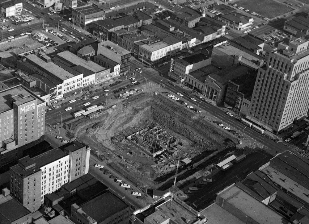 After the exterior stone had been removed and the Old State Capitol was demolished, work on the Illinois State Historical Library and underground garage began, Dec. 22, 1966. File/The State Journal-Register
