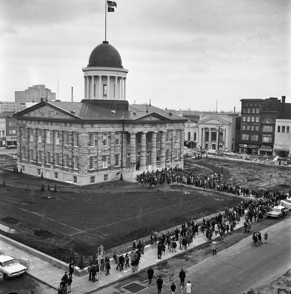 Crowds line up to view the inside of the Old State Capitol State Historic Site during the official opening Dec. 3, 1968. File/The State Journal-Register
