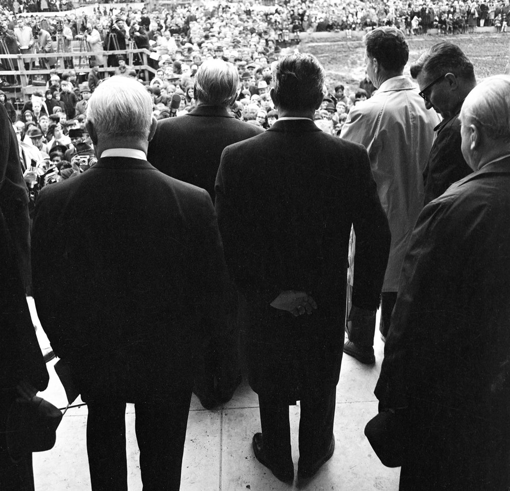 Dignitaries including Gov. Sam Shapiro and his predecessor, Gov. Otto Kerner, on the steps of the Old State Capitol during its dedication Dec. 3, 1968. File/The State Journal-Register