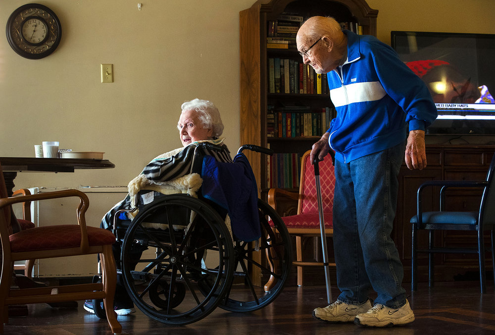 Dale Mullen, devoted to his wife Betty for 76 years, visits her daily at the Auburn Rehabilitation & Health Care Center. Betty has signs of dementia. [Ted Schurter/The State Journal-Register]