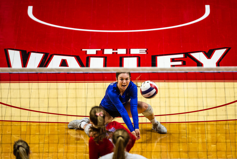 Pleasant Plains' MacKenzie Houser (3) makes a dig against Champaign St. Thomas More during the Class 2A IHSA Volleyball State Final Tournament semifinals at Redbird Arena, Friday, Nov. 9, 2018, in Normal, Ill. [Justin L. Fowler/The State Journal-Register]
