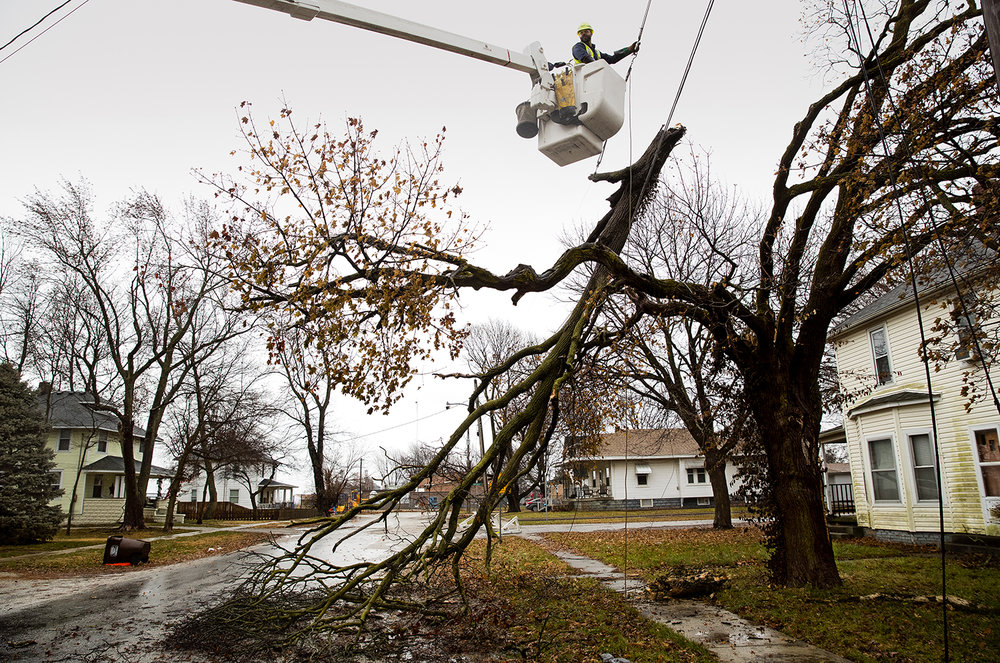 Ameren employee Clay Proctor workes to restore power on Dodd Street in Divernon after high winds blew the top half of a tree onto power lines Thursday, Dec. 27, 2018. [Ted Schurter/The State Journal-Register]