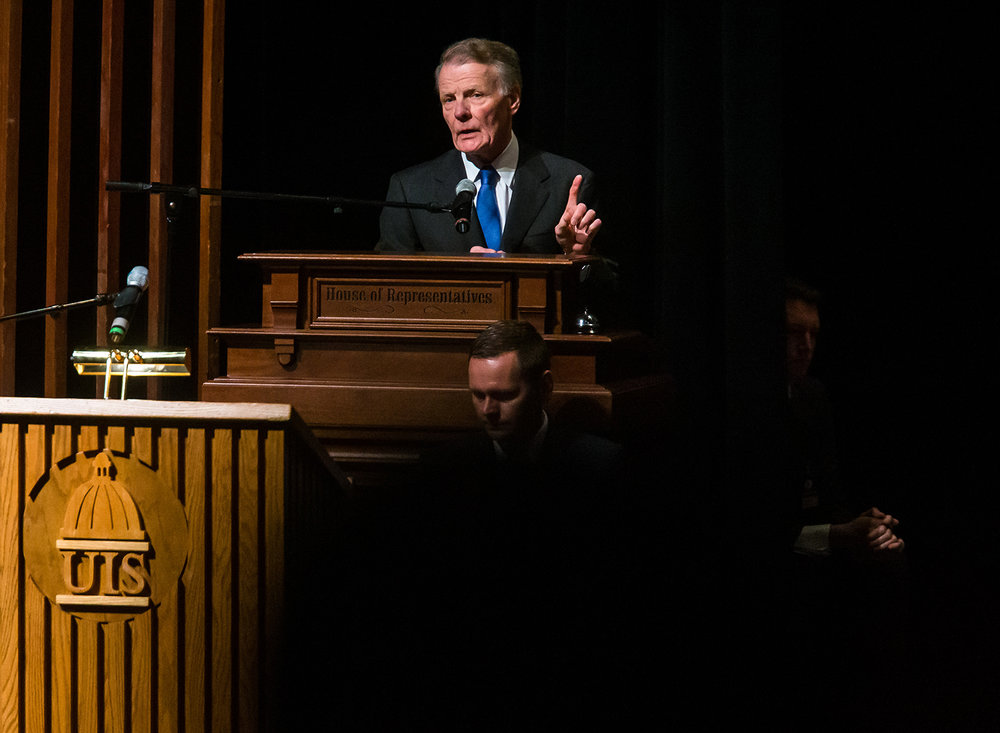 Illinois Speaker of the House Michael Madigan, D-Chicago, delivers his remarks after being elected the Speaker of the House for his 19th term during the inauguration ceremony for the Illinois House of Representatives for the 101st General Assembly at the University of Illinois Springfield's Sangamon Auditorium, Wednesday, Jan. 9, 2019, in Springfield, Ill. [Justin L. Fowler/The State Journal-Register]