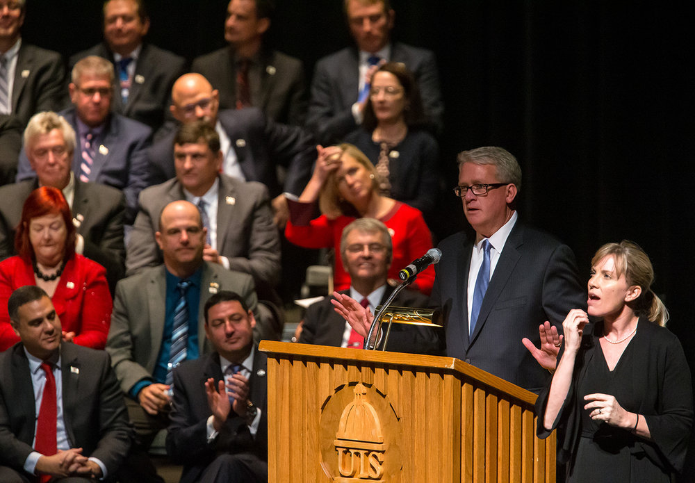 Illinois House Minority Leader Jim Durkin, R-Western Springs, gives his remarks after being elected the House Minority Leader during the inauguration ceremony for the Illinois House of Representatives for the 101st General Assembly at the University of Illinois Springfield's Sangamon Auditorium, Wednesday, Jan. 9, 2019, in Springfield, Ill. [Justin L. Fowler/The State Journal-Register]