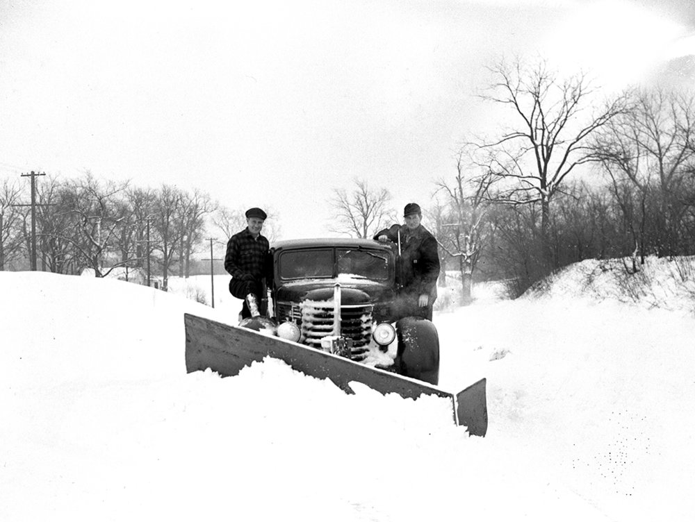 County highway crew, Leslie Rape, left, and Sherman Mellinger, plow snow near Cotton Hill Park Jan 7, 1940. File/The State Journal-Register