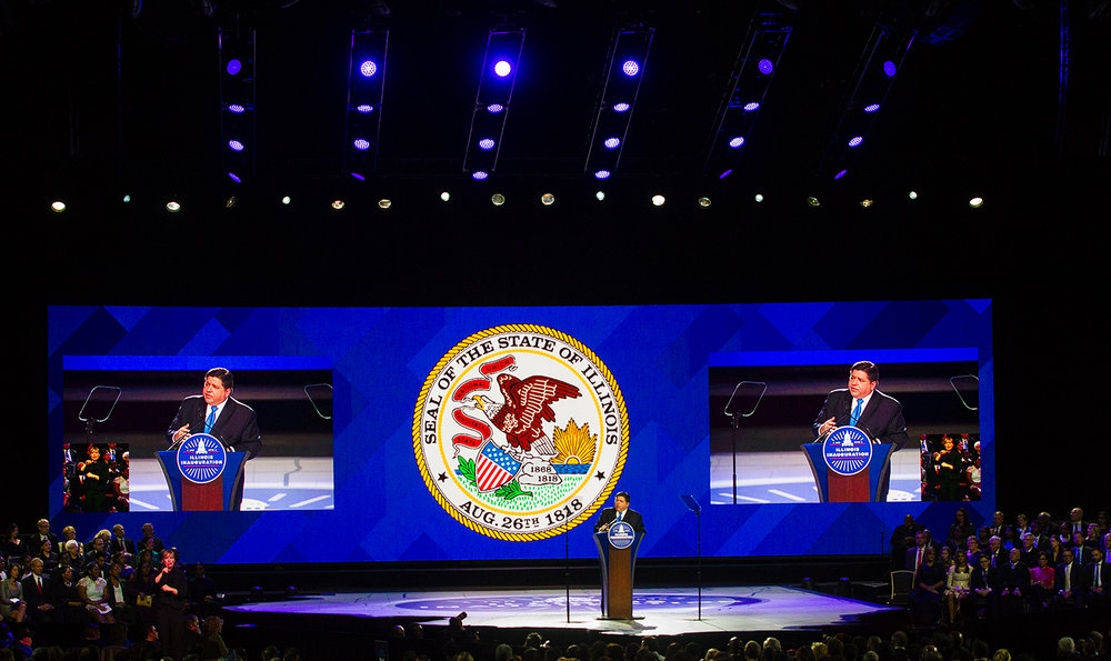 Governor J.B. Pritzker gives his inaugural address at the Bank of Springfield Center Monday, Jan. 14, 2019. [Ted Schurter/The State Journal-Register]
