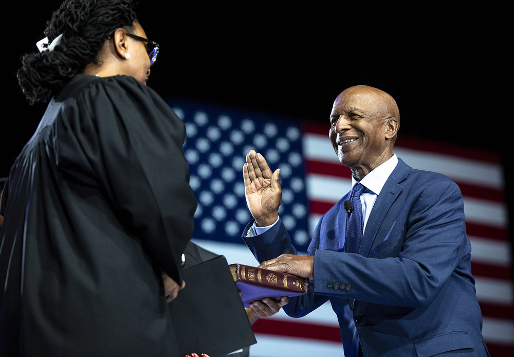 Secretary of State Jesse White is sworn in to his sixth term by Judge Toya Harvey during the Illinois Inaugural Ceremony Monday, Jan. 14, 2019 a the Bank of Springfield Center in Springfield, Ill. [Rich Saal/The State Journal-Register]