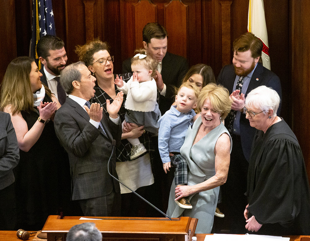 Sen. John Cullerton, D-Chicago, center, coaxes his granddaughter Edie Hooper to blow kisses after he was sworn in to another term as senate president during inauguration of the Illinois State Senate of the 101st General Assembly Wednesday, Jan. 9, 2019 at the Capitol in Springfield, Ill. [Rich Saal/The State Journal-Register]