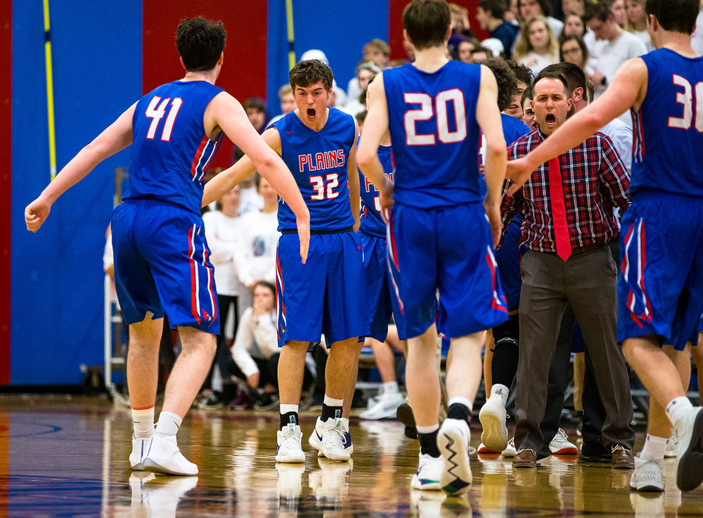 Pleasant Plains' AJ Pankev (32) celebrates with Pleasant Plains' Chase Schmitt (41) after the Cardinals force Williamsville to take a timeout in the second half of the Boys Sangamon County Tournament championship game at Lincoln Land Community College's Cass Gymnasium, Friday, Jan. 11, 2019, in Springfield, Ill. [Justin L. Fowler/The State Journal-Register]