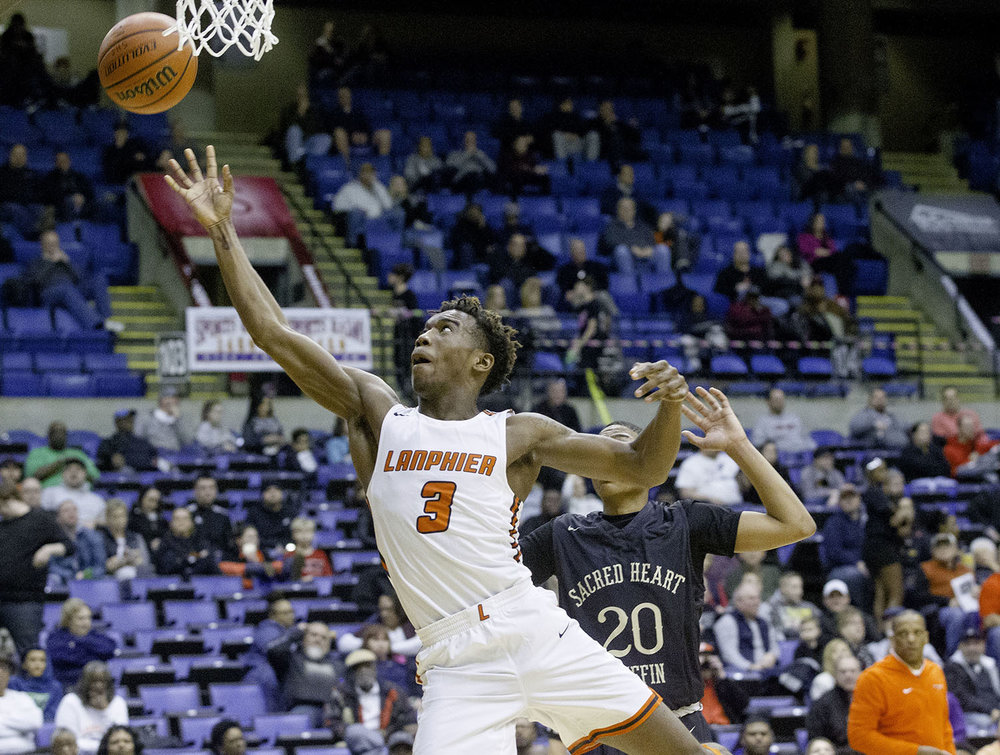 Lanphier's Karl Wright scores against Sacred Heart-Griffin during the Boys City Tournament at the Bank of Springfield Center Thursday, Jan. 17, 2019.  [Ted Schurter/The State Journal-Register]